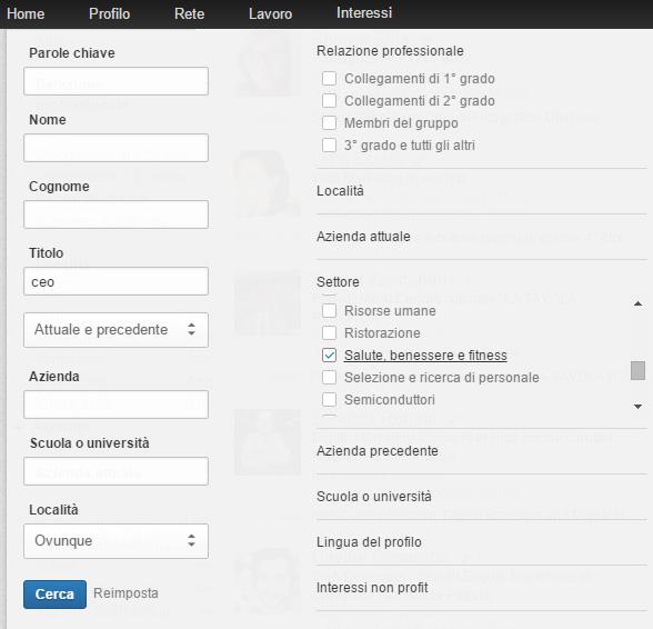 ricerca linkedin italiano
